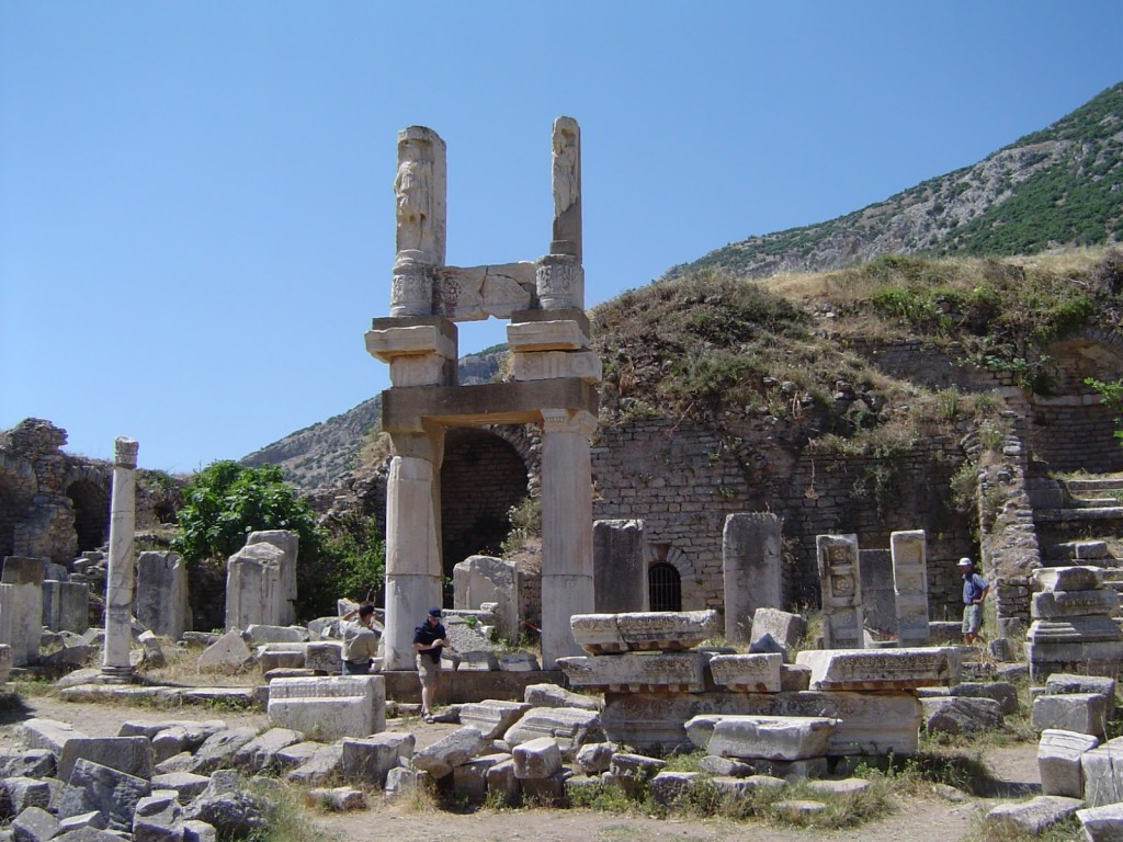 Domitian's Temple (Domitian gave Ephesus the right to build the first temple on Ephesus dedicated to a living emperor. In return, the people erected a 7m-tall statue of Domitian in the temple.)